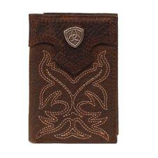 Ariat Men's Dark Brown Bootstitch Trifold Wallet