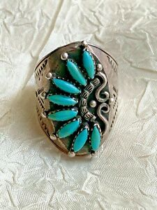 Native American Sterling Silver Ring 925, Real Turquoise - Navajo