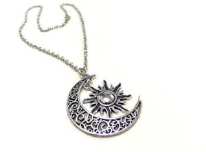 NEW Antique Silver Moon and Sun Necklace Crescent Moon Pagan Boho Ladies Pendant