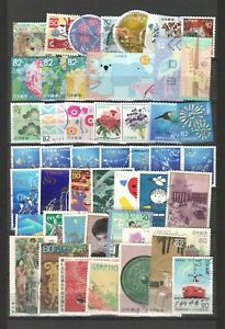 JAPAN LARGE USED RECENT COMMEMORATIVE STAMPS 50 DIFFERENT ON ALBUM PAGE LOT 619