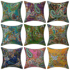 Paisley Print Kantha Pillows Indian Outdoor Cushion Cover Vintage Boho Throw 16""