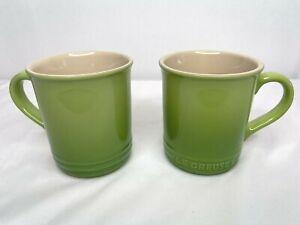 Le Creuset Stoneware Palm Green Coffee Mugs 14 Oz Green Fade Set of 2
