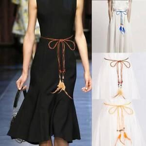 Decorative Feather Braided Waist Belt Chain Thin Girdle Belt For Women Dresses