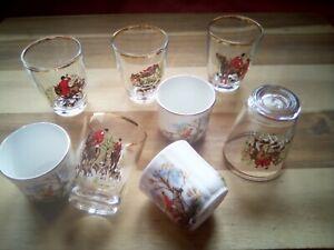 Vintage / Retro Fox Hunting Design Shot Glass / Glasses - c 1960s