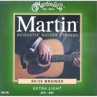 Martin M170 - 80/20 Bronze Muta Corde per chitarra Acustica scalatura 10-47 Extr