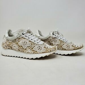 Casadei Womens Low Top Lace Up White Tan Sneaker Shoes Size 36/US 5.5