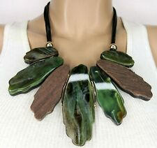 Amazing Green Marbled Lucite Slab & Wood/ Black Resin Necklace