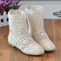Women's Shoes Flat-heeled Hollow Mesh Single Boots  Round-toed Summer Sandals