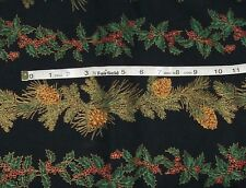 Winter Impressions Hoffman Fabric Christmas Holly Pine Stripe By the Yard New
