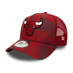 NEW ERA MENS BASEBALL CAP.CHICAGO BULLS A FRAME RED CAMO PRINT TRUCKER HAT W21