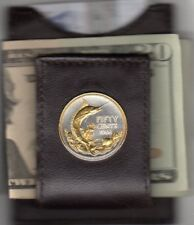 Bahamas 50 Cent Blue Marlin Coin Gold on Silver Fish Money Clip Free Shipping