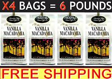 HAWAIIAN ISLES KONA VANILLA MACADAMIA NUT COFFEE – X4 – 24 oz Bags = 6 POUNDS