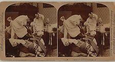 Man vrs Bedbugs ~ Spraying the Bedding 1897 Stereoview