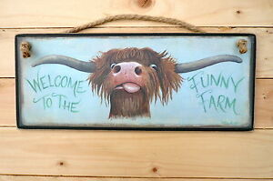 Highland Scottish Cow Wooden Sign Welcome to the Funny Farm Plaque Print Art