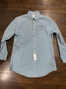 Brooks Brothers Non Iron Dress Shirt Stretch Gingham 15 1/2 32 Regent Fit