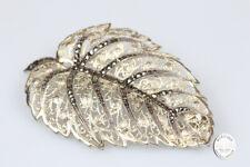 Brosche 835 Silber vergoldet Markasit filigran antik Schmuck Damen