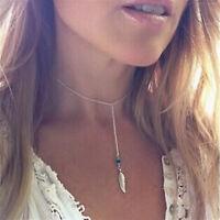 Women Bohemian Turquoise Feather Tassel Pendant Chain Statement Necklace Elegant