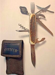 ORVIS 8 USE PENKNIFE BY MERCURY IN ITALY, STAG HORN HANDLE,LITE,CASE QUALITY