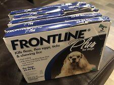 FRONTLINE PLUS DOGS 23-44Lbs FLEA & TICK CONTROL 3 DOSES NEW - Water Damage Box