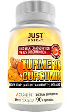 Just Potent Turmeric Curcumin | Ultra-High Absorption | Patented, Clinically
