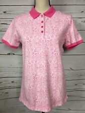 Lands End Womens Print Short Sleeve Polo Top Small NWT