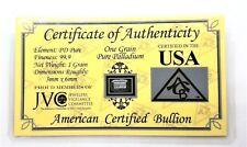 1/15 Gram .999 Fine Palladium Bullion Bar - in Certificate of Authenticity Card