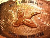 Hunting VINTAGE Trophy RIFLE CLUB Geese Goose STERLING Front Belt Buckle
