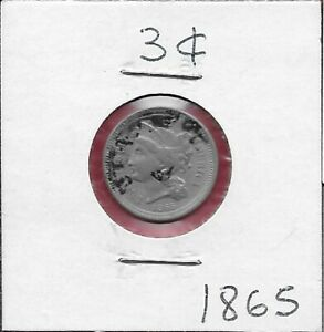U.S.A 3 CENTS 1865 CORONET HEAD LEFT,DATE BELOW,ROMAN NUMERAL VALUE WITHIN WREAT