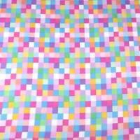 Rainbow Pink Blue Yellow Checkered Cotton Fabric, Kaufman, BTY