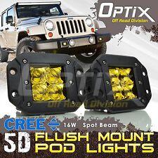 2x 16W CREE LED Pod Lights Flush Mount Driving Work Fog Light Cube 5D Len Yellow