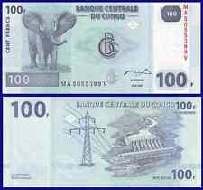 Congo P98, 100 Francs, elephant / hydroelectric dam on Congo river, 2007, UNC