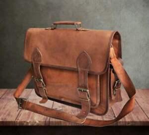 Vintage Bull Leather Mens Briefcase Laptop Messenger Shoulder Bag Computer Brown