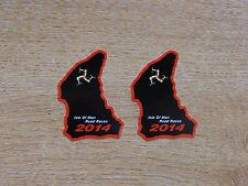 X2 Isle Of Man Tt Razas curso mapa sticker Negro/rojo 50mm Alta 2014