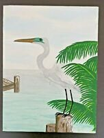 "Vtg Oil on Canvas Heron Ocean Water Palms 9x12"" Tropical Beach Signed Unframed"