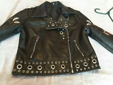 Womens Romeo & Juliet Couture Faux Leather Moto Jacket  Size M Black Embroidered