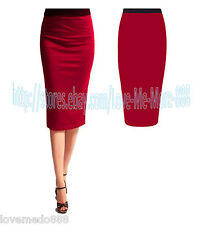 WEAR TO WORK Casual Tight Fit High Waisted Basic Pencil Midi Skirt Dress Red XS