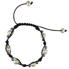 Roxy Leather and Pearl Shambala Bracelet