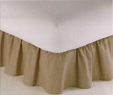 "REGAL TWIN Size Bedskirt Ruffle Solid Color Tan Beige Stone Light Brown 14"" Drop"