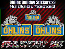 Ohlins Bulldog Decal Stickers x3 Suspension car van Bike Shock motorcycle biker