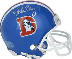 John Elway Denver Broncos Autographed Riddell Throwback Logo VSR4 Mini Helmet