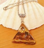 Tigers Eye Triquetra Triniti Amulet Pendant Necklace Talisman Kundalini Pouch