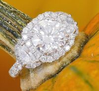 14K White Gold Round Forever One Moissanite and Diamond Engagement Ring 3.00ct