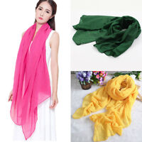 Soft Women's Long Cotton Linen Wrap Scarf Shawl Solid Color Stole Pashmina Candy