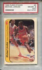 1986 Fleer Basketball Sticker #8 Michael Jordan Rookie Card PSA Nm Mint 8 (OC)