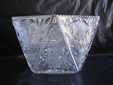 Vintage Trapezoid Shaped European Cut Crystal Punch Bowl