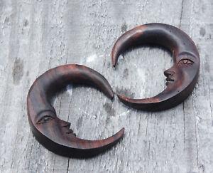 Pair Handmade Organic Wood Circular Crescent Moon Hanger Ear Plugs Gauge Hoops