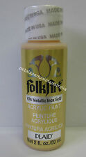 59ml Plaid Folk Art Acrylic Paint 676 Metallic Inca Gold for Painting & Craft