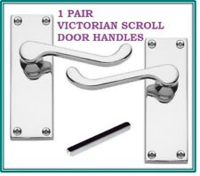 1 Silver CHROME Victorian Scroll Internal Door Handle Pack 118mm x 43mm D30