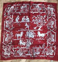 Vintage Salvatore Ferragamo Silk Scarf Wrap Bandanna Red Horses Chariots Flower