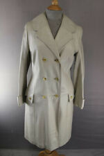 AMAZING VINTAGE 1970's IVORY LEATHER DOUBLE-BREASTED COAT 32 INCH